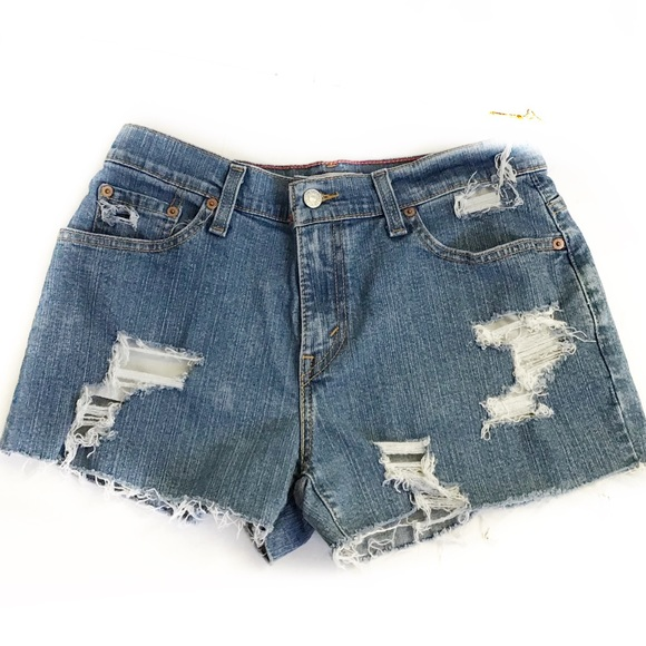 Levi's Pants - Levi's 550 Distressed High Rise Mom Cut Off Shorts